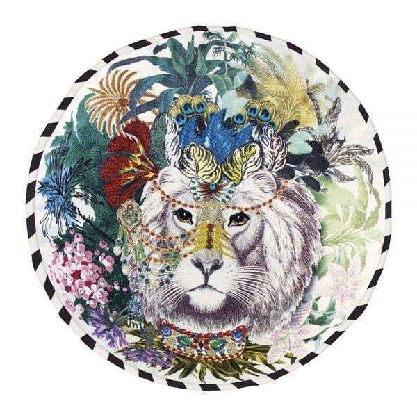 Coussin rond jungle lion christian lacroix